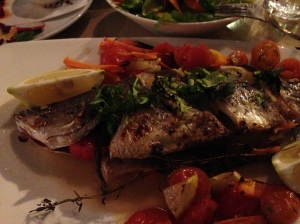 One of many great meals, fish in Tiberius