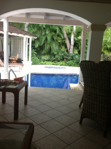 Just a few steps from chair to pool...