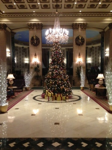 Holiday decorations in the lobby of The Roosevelt