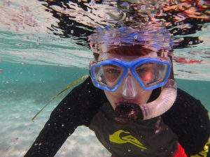 Little Man, snorkeling– and my very favorite photo!