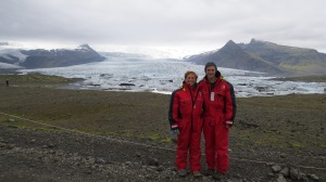 We geared up in our stylish red suits, and then hiked down to the icebergs...
