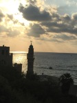 Beautiful old mosque, at sunset in the Old Jaffa harbor